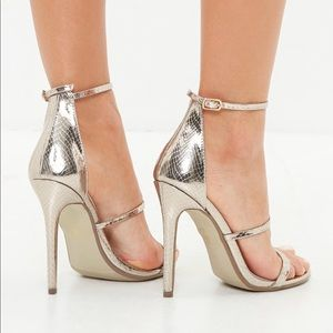 1f2303a702e7 Missguided Shoes - Silver snake print three strap barely there heels